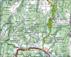 La descente vers Die depuis le col de Rousset (Vercors Sud)